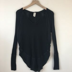 Free People Black Long Sleeve Thermal Top XS